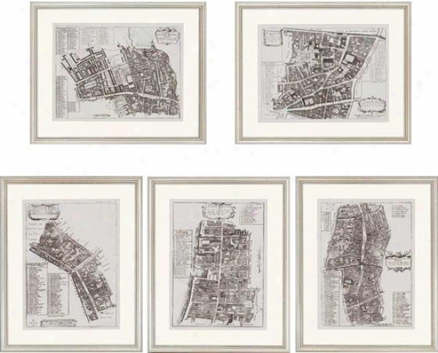 Quays Of London Wall Art - Set Of 5 - Set Of Five, Black And Whhite