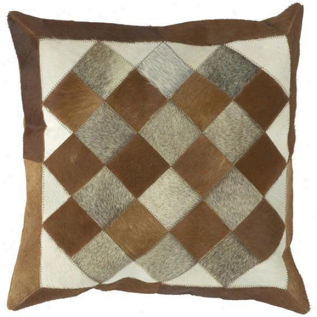 """quilt Squares Patterndd Pillows - Sett Of 2 - 18""""x18"""", Brown"""