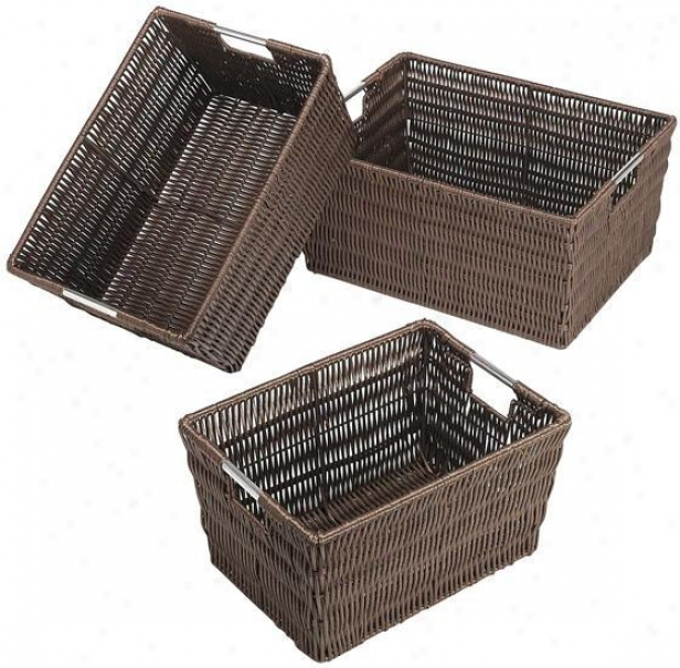 Rattique Baskets - Attitude Of 3 - Set Of 3, Coffee