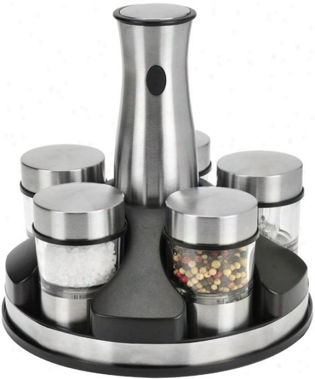 """rechargeable Spice Mix Set - 9.2""""x8.5""""x8.5"""", Silver"""