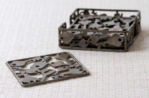 """""""recycled Key Table Accessories - Coasters 4""""""""w, Steel Gray"""""""