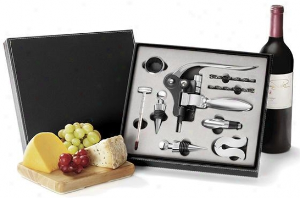 Red 10-piece Sommelier Wine Set - 3hx10wx11d, Black