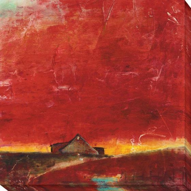 """red Barn Canvas Wall Art - 40""""hx40""""w, Red"""