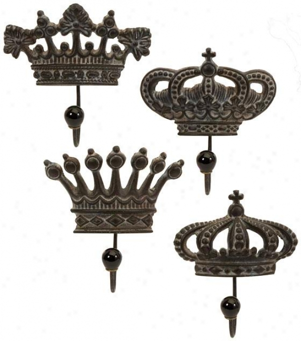 Regent's Crown Hooks - Set Of 4, Brown