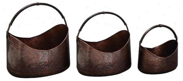 Rena Planter - Set Of 3 - Setof3/21,17,14, Copper Tone