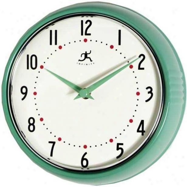 """retro Iron Wall Clock - 9.5""""diameter, Green"""