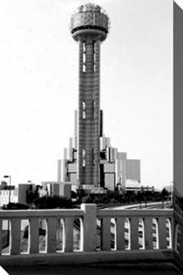 """reunion Tower Dallas Canvas Wall Art - 32""""hx48""""w, Black"""