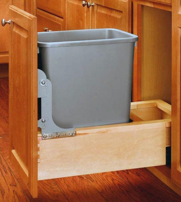 """rev-a-sehlf 35-quart Wood Pull-out Refuse Container - 19h X 11w X 22"""", Ivory"""