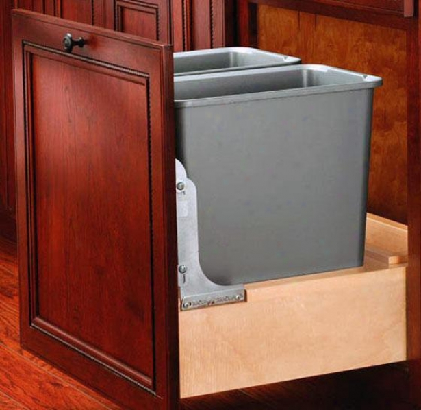 """rev-a-shelf Deceitful 30-qt Pull-out Waste Container - 19h X20w X22""""d, Ivory"""