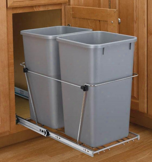 Rev-a-shelf Fold Quart Waste Containers - 27 Quart, Silver