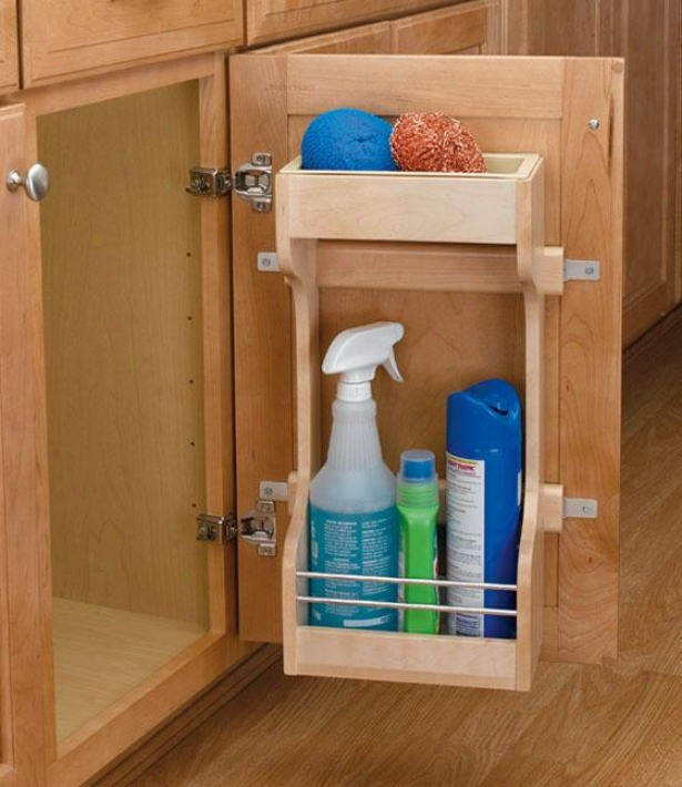 """rev-a-shelf Small Sink Base Door Storage Organizer - 19h X 10.5wx5""""d, Ivory"""
