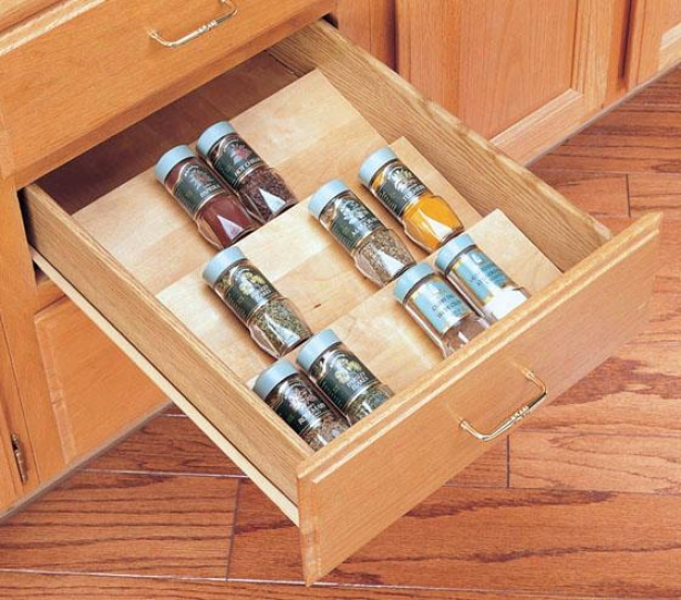 """rev-a-shelf Trim-to-fit Wood Spice Organizer - 2.5h X 16wx20""""d, Ivory"""