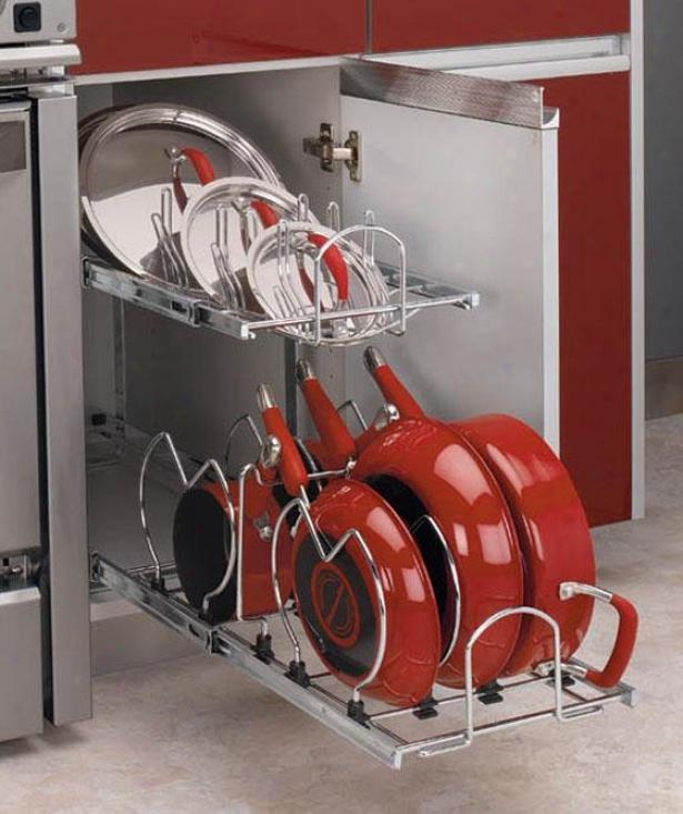 Rev-a-shelf Two-tier Cookware Organizer - Slender, Silver Chrome