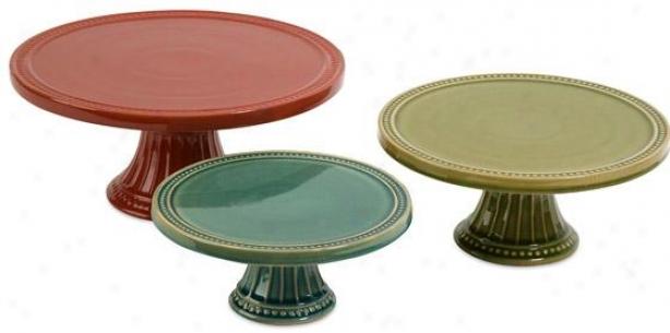 Reyes Pedestal Cake Plates - Set Of 3 - Set Of 3, Multi