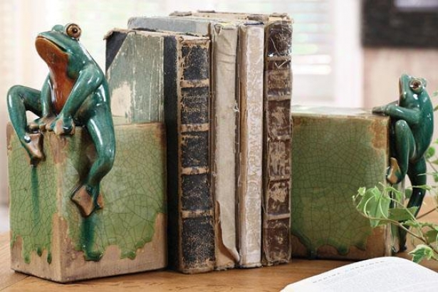 Ribbit Bookends - Set Of 2 - 5.5x5.5, Green