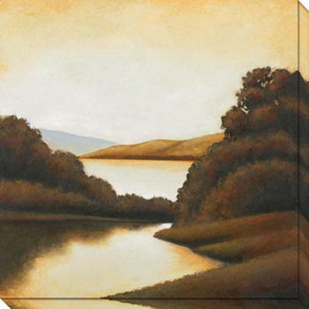 """riverside Canvas Wall Art - 40""""hx40""""w, Gold"""
