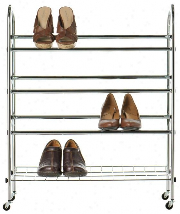 """rolling Shoe Rack - 31""""hx25""""wx9.5""""d, Silver Chrome"""