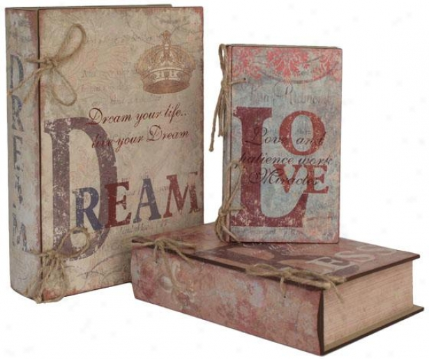 Romance Book Boxes - Set Of 3 - Set Of Three, Multi