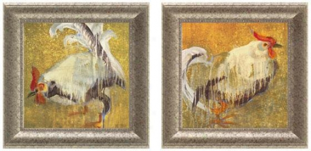 Rooster Framed Wall Art - Set Of 2 - Set Of Two, White