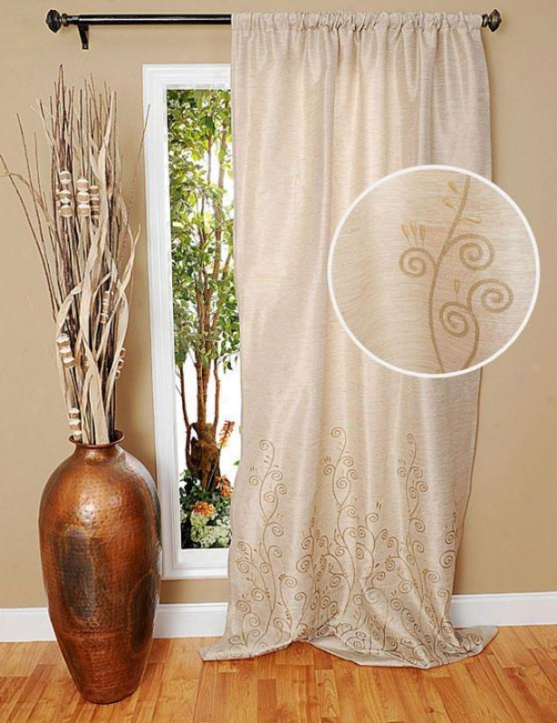 """rosabelle Embroidered Curtain Panel - 96h X 48""""w, Ivory"""