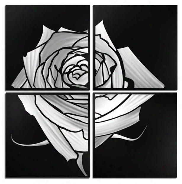 Rose Wall Sculpture - Set Of 4 - 47hx47wx2d, Gray Black
