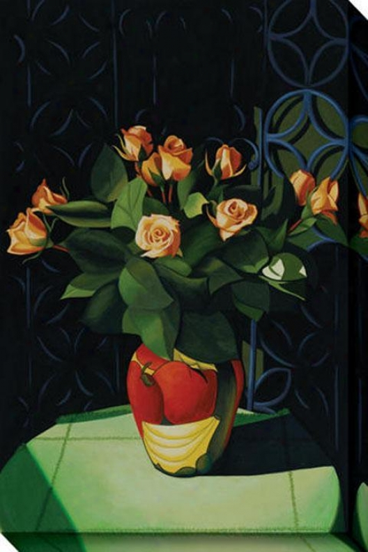 """roses Of Calica Canvas Wall Art - 32""""hx48""""w, Black"""