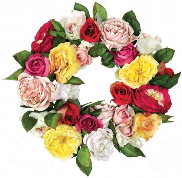 """rosie Wreath - 16""""d, Pink/green"""