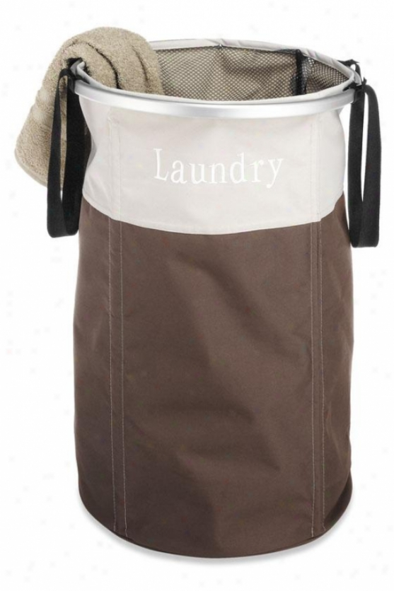"""round Aluminum Frame Laundry Clothes Laundry Hampeer - 24""""hx16""""round, Brown"""