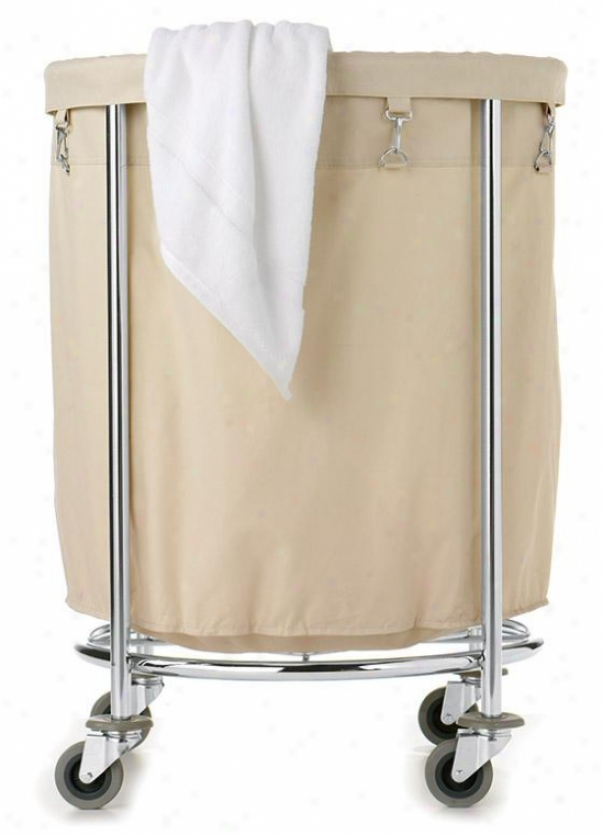 """""""round Commercial Clothes Laundry Crate - 32""""""""hx24""""""""round, Beige/chrome"""""""