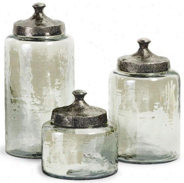 A~ Luster Canisters - Set Of 3 - Set Of 3, Green