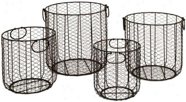Round Wire Baskets - Set Of 4 - Set Of Four, Black