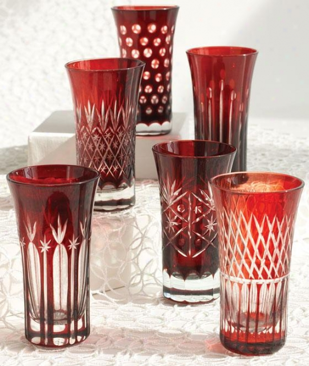 Ruby Liquor Glasses - Set Of 6 - Set Of Six, Ruby Red