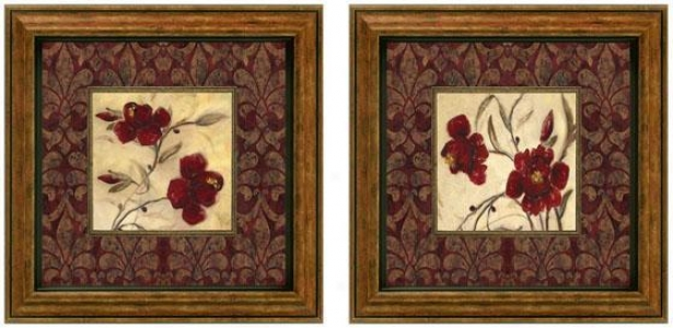 Ruby Red Framed Wall Art - Set Of 2 - Set Of Two, Burgundy
