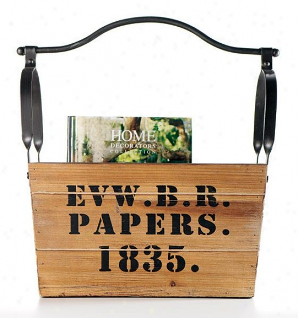 """""""rustic Papers Magazine Holder - 16wx16hx9""""""""d, Ivory"""""""