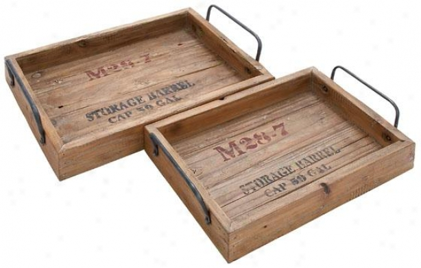 """""""Countrified Wood Tray - Set Of 2 - S/2 18"""""""", 15""""""""w, Natural Wood"""""""