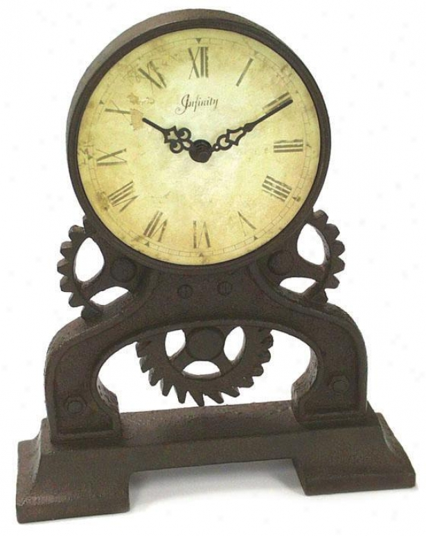 """rusty Gears Tabletop Clock - 12""""hx10.25""""w, Rst/antiquedial"""