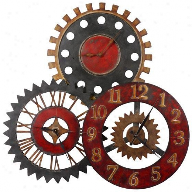 """rusty Movements Clock - 36""""hx36""""wx3.25"""", Multi"""