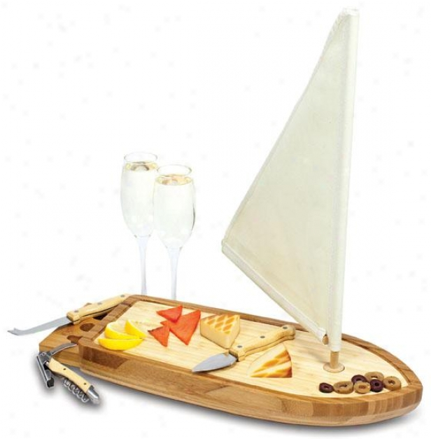 """sailboat Serving Tray Set - 2h X 15w X 6""""d, Natural Wood"""