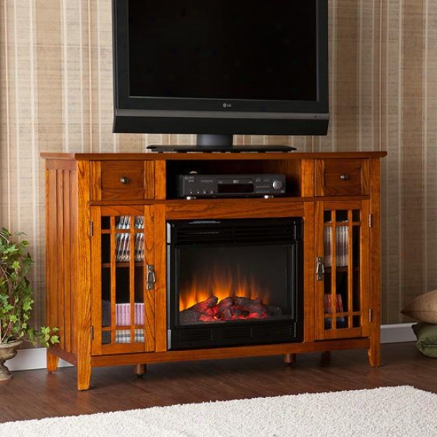 Salinas Media Fireplace - 35hx52w, Brown Oak