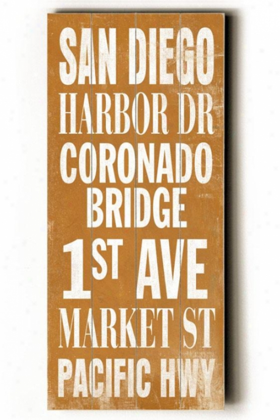 """san Diego Transit Sign Wall Plaque - 24h X 10""""w, Gold"""