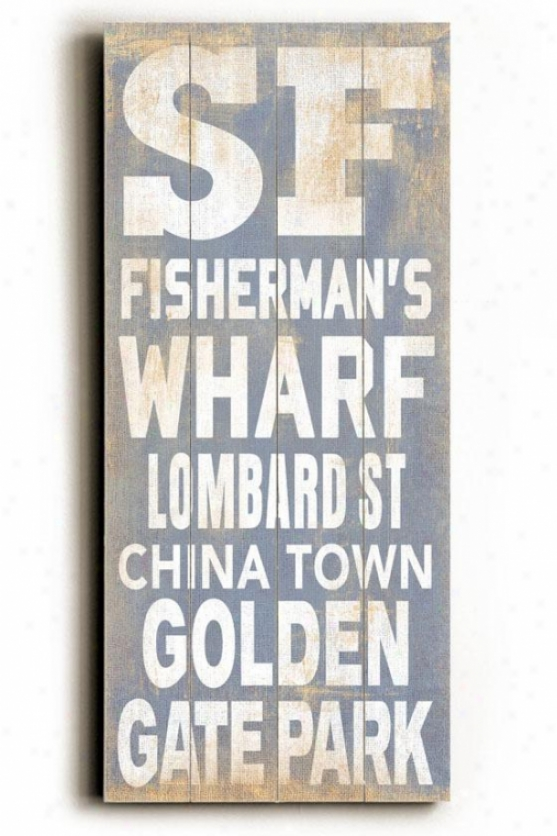 """san Francisco Transit Sign Wall Plaque - 24h X 10""""w, Blue"""