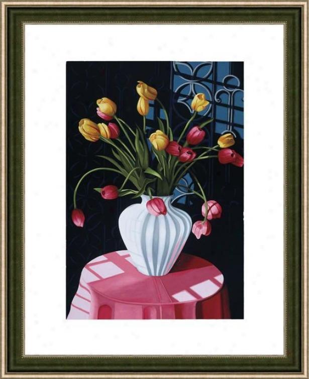 """""""san Marcls Tulips Framed Wall Art - 38""""""""hx29""""""""w, Mtd Atq Wln/slv"""""""