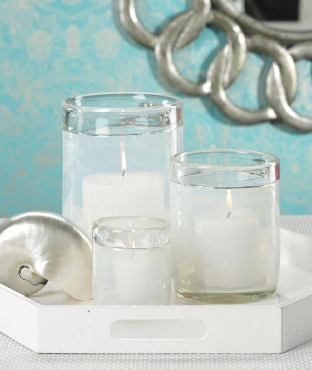 """""""sanibel Glass Hurricane - Medium: 5hx6""""""""rd, White"""""""