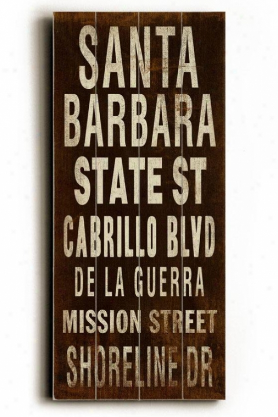 """santa Barbara Transit Wall Plaque - 24h X 10""""w, Coffee Brown"""