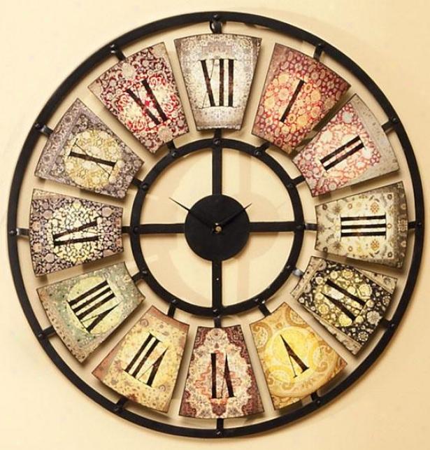 """sarita Metal Wall Clock - 24 X 2""""d, Multi"""