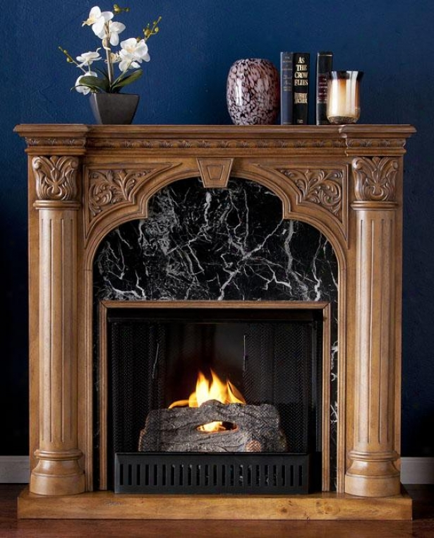 Cruel Fireplace - Gel Fireplace, Oak/dark Gray