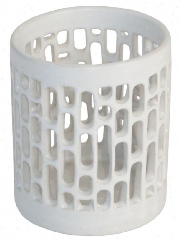 """sawyer Pierced Candleholder - Small: 4h X 3.5""""rd, White"""