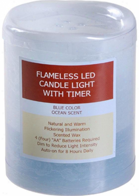 """""""scented Led Candle With Timer - 4""""""""hx3""""""""d, Turquoise"""""""