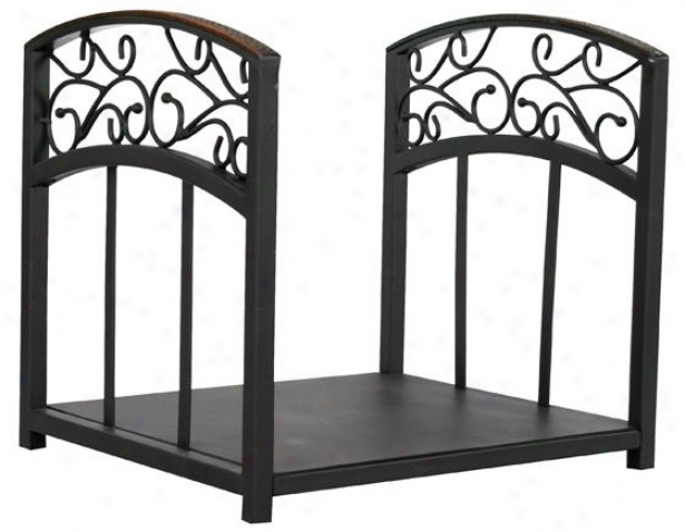 """scroll Log Rack - 16""""hx16""""wx12""""d, Black W/copper"""