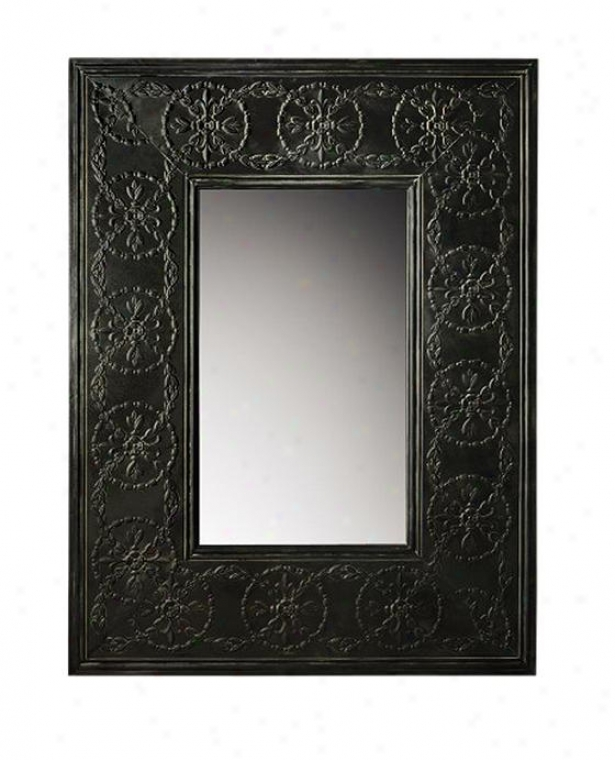 """scroll Metal Framed Mirror - 48.5""""hx37""""wx2""""d, Charcoal Gray-haired"""